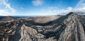 Panorama view of Caldera Blanca volcano summit, Lanzarote, Canary Islands, Spain.